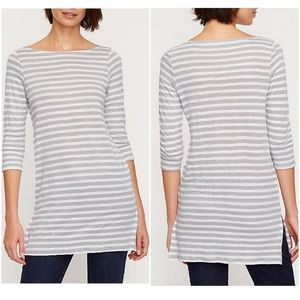 Eileen Fisher Organic Linen Gray Stripe Tunic Med